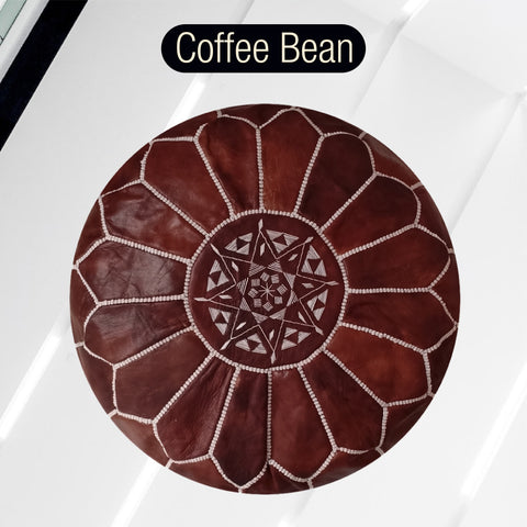 The Blue Pearl Shop Premium Handcrafted Coffee Bean Leather Pouf