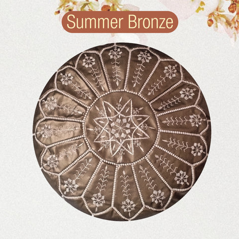 NEW! Summer Bronze Faux Leather Pouf