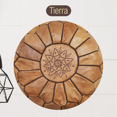 The Blue Pearl Shop Premium Handcrafted Tierra Leather Pouf