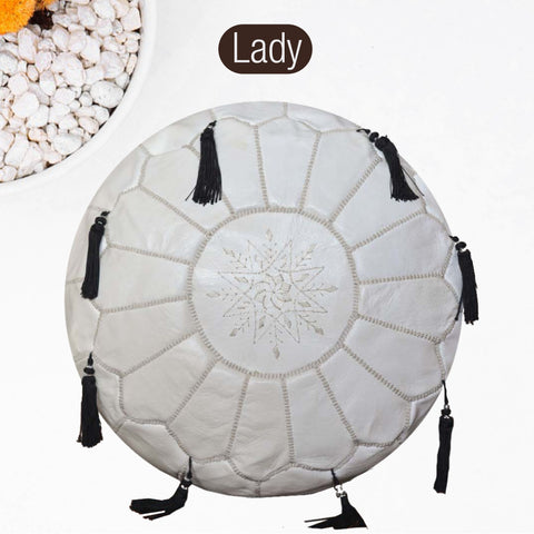 The Blue Pearl Shop Premium Handcrafted Lady Leather Pouf