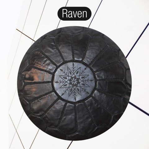 The Blue Pearl Shop Premium Handcrafted Raven Leather Pouf