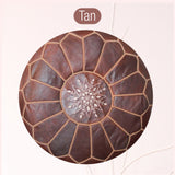 The Blue Pearl Shop Premium Handcrafted Tan Leather Pouf