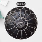 The Blue Pearl Shop Premium Handcrafted Blacky Leather Pouf