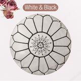 The Blue Pearl Shop Premium Handcrafted White and Black Leather Pouf