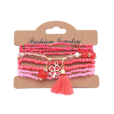 9pcs/set  Multilayer Seed Beads Tassel Clover Bracelets & Bangles Strand