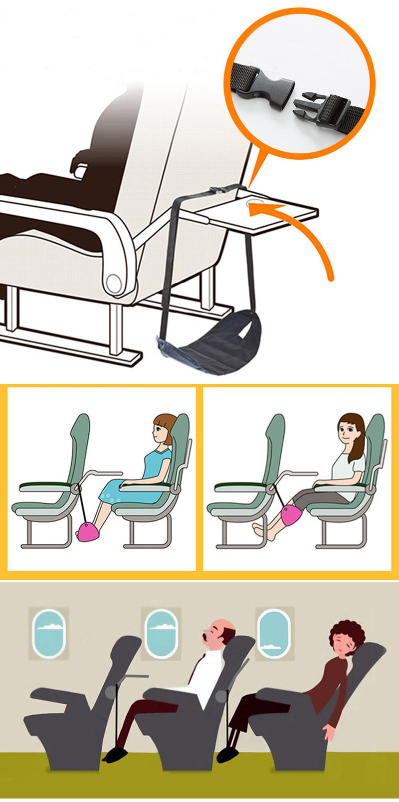 A Magic Feet Hammock Will Be Your Perfect Choice Train Airplane Car Travel Essentials Seat Pad For Foots Body Rest