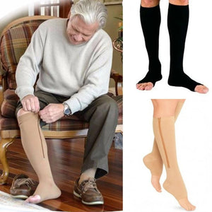 Medical Open Toe Zippered Compression Stockings For Men Women