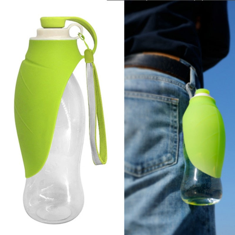Expandable Portable Travel Pet Dog Silicone Water Bottle with Bowl