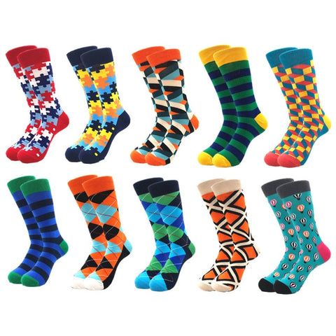 10 Pairs Long Men's Compression Socks Cotton Colorful Casual Socks