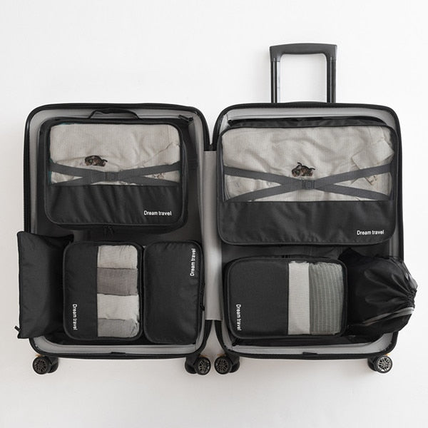 Agatha Travel Accessories Packing Cubes Set Black