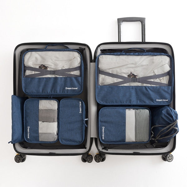 Agatha Travel Accessories Packing Cubes Set Dark Blue