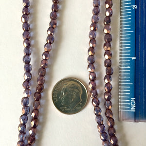 8-11-19-A Blue w Bronze 4mm Facet Czech Beads