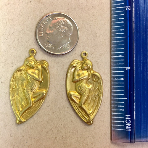 6-03-18-L Vintage Angel Stamped Charm Pair Raw Brass