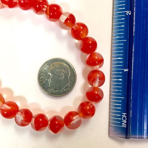 7-13-18-F Red/Clear Round Vintage German Glass Beads