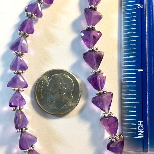 8-31-18-A Amethyst Faceted Triangle Stone Beads