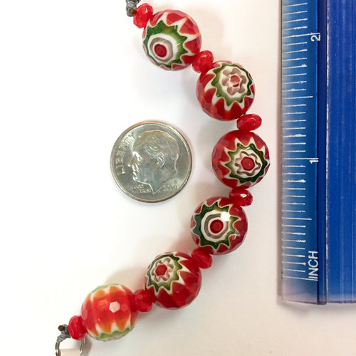 9-3-18-A Red Milifiori Faceted Chinese Crystal Beads