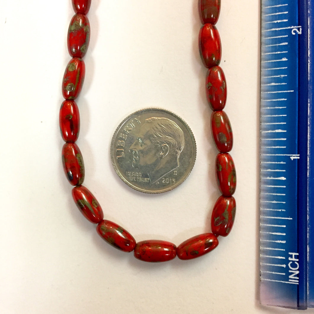 7-17-18-C Red Oval Czech Glass Beads