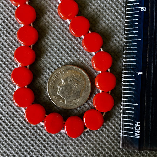 8-7-19-A Red 2 Hole Disk Czech Bead
