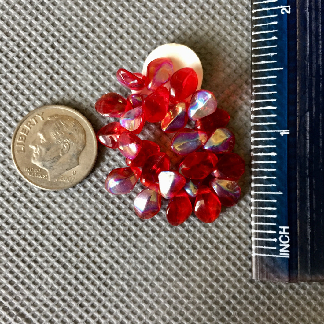 7-26-18-G Red AB Shovel Czech Glass Beads