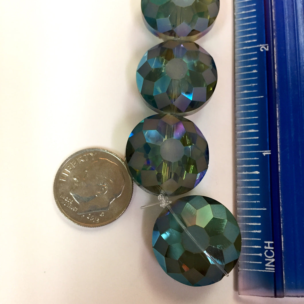7-24-17-D Teal AB Cut Flower Disk Chinese Crystal Beads