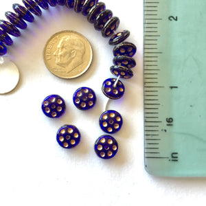 6-19-18-F Cobalt Rondelle Czech Glass Beads