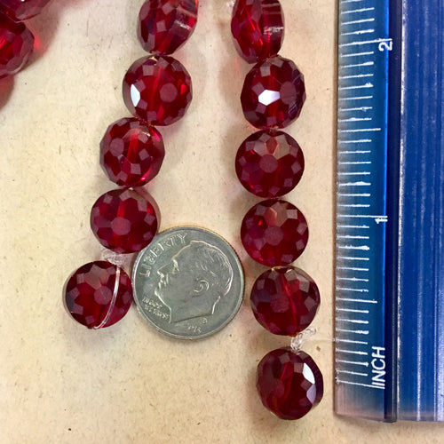 6-09-18-E Red Glass Floral Disk Chinese Crystal Beads
