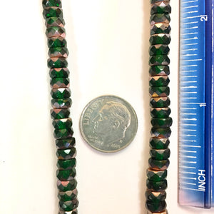 7-13-18-C Green Copper Faceted Rondelle Czech Glass Beads