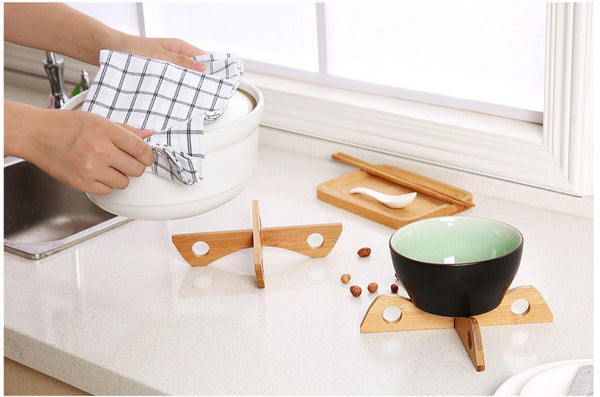 Bamboo Heat Resistant Pan Mats Holder Removable Bowl Cup