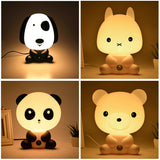 EU/US Plug Night Lovely Sleeping Lamp Baby Room Panda/Rabbit/Dog/Bear Cartoon