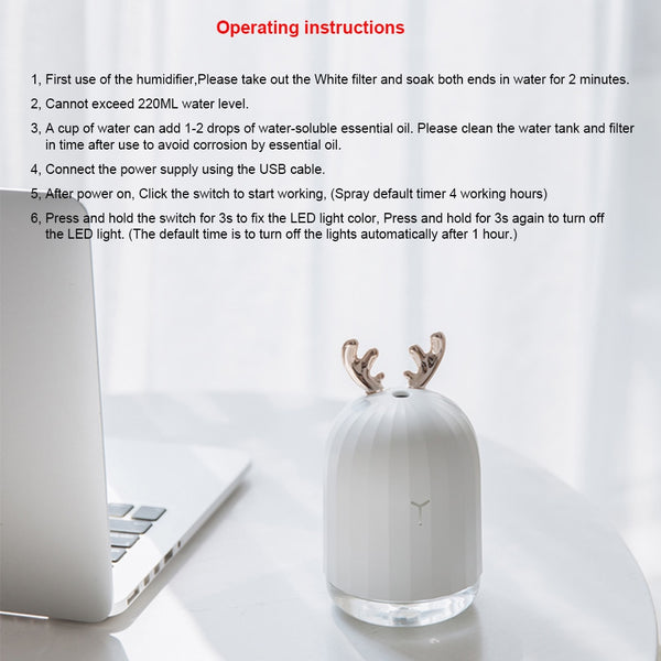 Ultrasonic Air Humidifier Kawaii Aroma Essential Oil Diffuser for Home Car USB 220ml