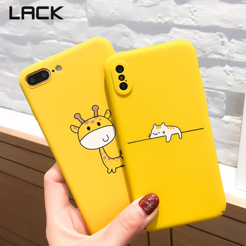 00e78cb73f Cute Cartoon Lazy Cats Phone Case For iphone Funny Animal Yellow Back Cover  Pineapple