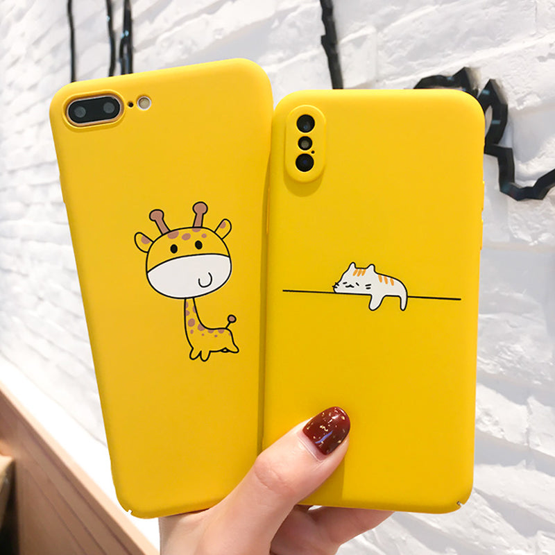 the best attitude a8d69 df842 Cute Cartoon Lazy Cats Phone Case For iphone Funny Animal Yellow Back Cover  Pineapple