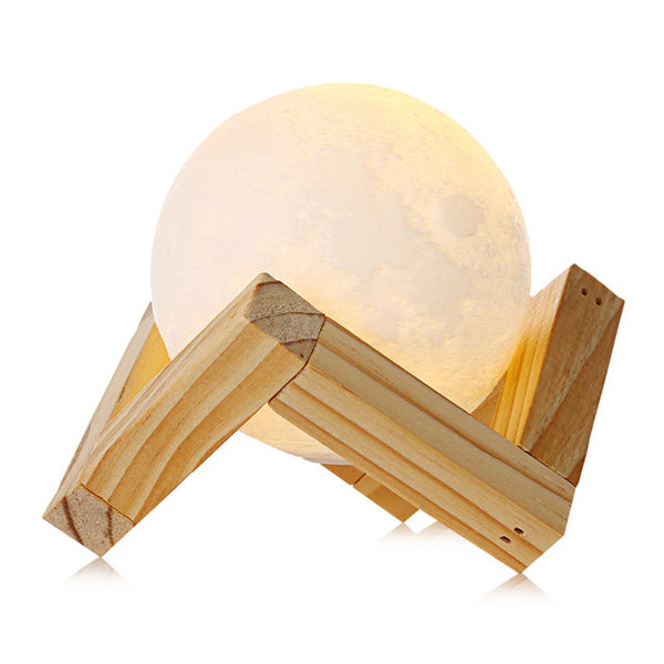 Rechargeable 3D Print Moon Lamp 2 Color Change Touch Switch Bedroom Bookcase Night Light