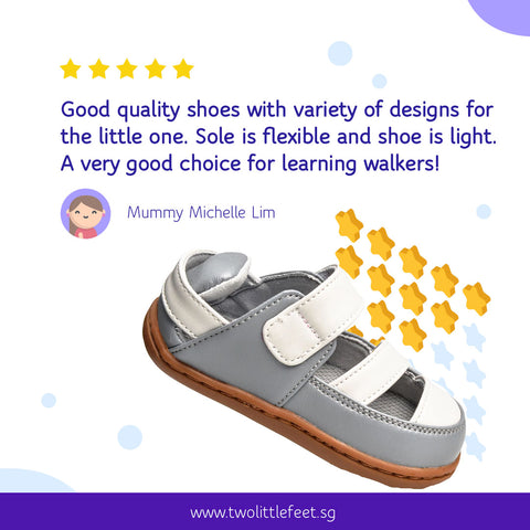 Mummy Michelle Lim Review of Two Little Feet Adam Baby Sandals in Grey