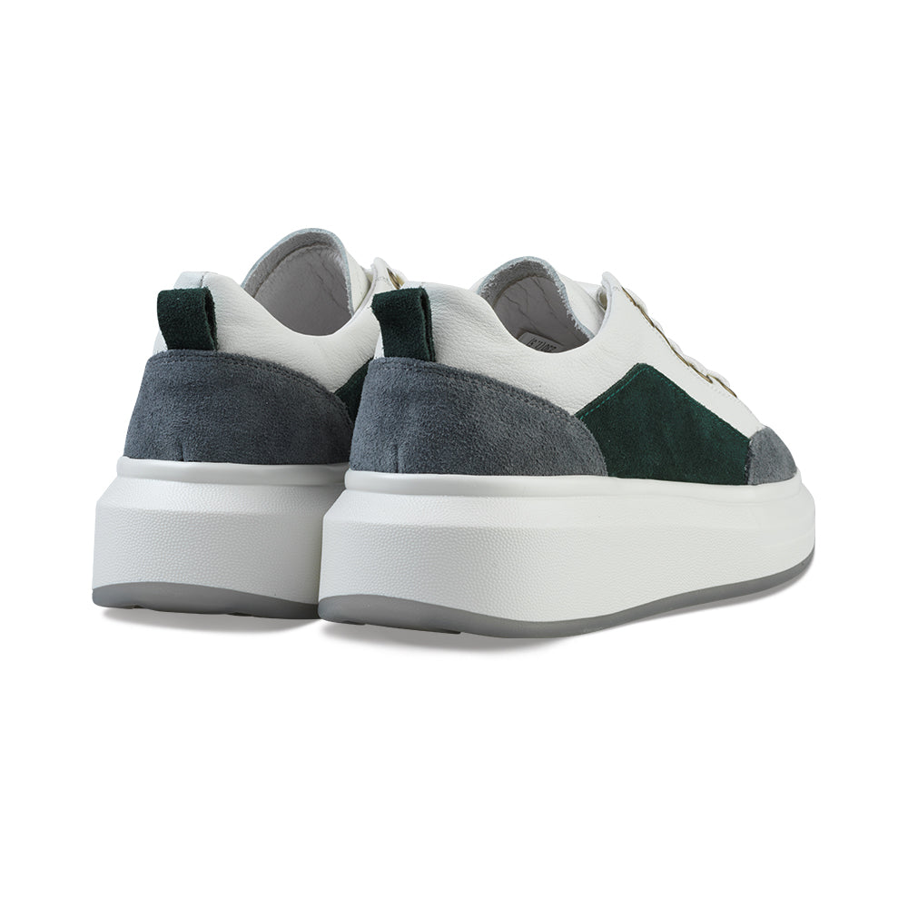 Moorea Weekend Leather Trainers Dark Evergreen