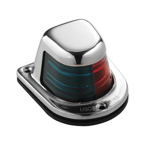 Attwood 1-Mile Deck Mount, Bi-Color Red-Green Combo Sidelight - 12V - Stainless Steel Housing [66318-7] - Attwood Marine