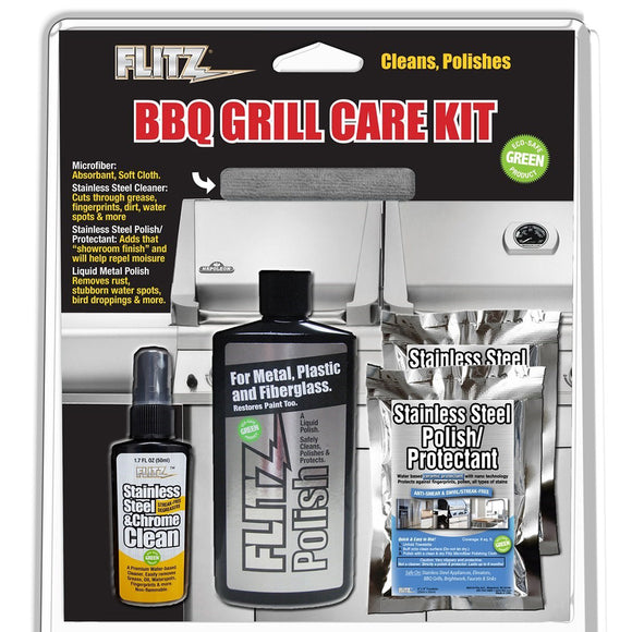 Flitz BBQ Grill Care Kit w/Liquid Metal Polish, Stainless Steel Cleaner, Stainless Steel Polish/Protectant Towelettes  Microfiber Cloth [BBQ 41504]