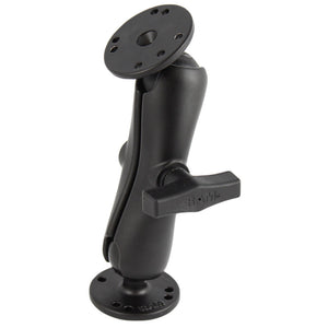 "RAM Mount 1.5"" Ball Double Socket Arm w-2 2.5"" Round Bases - AMPs Pattern [RAM-101U] - RAM Mounting Systems"