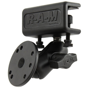 RAM Mount Glare Shield Clamp Mount w-Short Double Socket Arm & Round Base Adapter w-AMPs Hole Pattern [RAM-B-177-202U] - RAM Mounting Systems