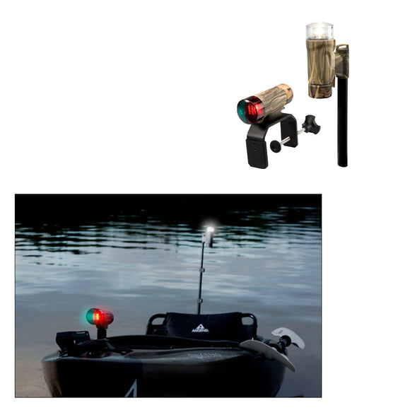 Attwood PaddleSport Portable Navigation Light Kit - C-Clamp, Screw Down or Adhesive Pad - RealTree Max-4 Camo [14195-7] - Attwood Marine