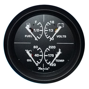 "Faria 4"" 4-in-1 Multifunction Gauge - Voltmeter (10-16) Fuel Level - Oil PSI (80 PSI) - Water Temp (100-250F) [32851]"