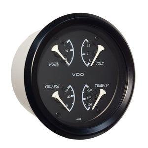 VDO Allentare 4 In 1 Gauge - 85mm - Black Dial-White Pointer - Oil Pressure, Water Temp, Fuel Level, Voltmeter - Black Bezel [110-11700]