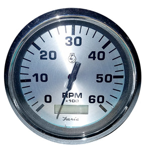 "Faria 4"" Spun Silver Tachometer w-Hourmeter 6000 RPM - Gas - Inboard [36032] - Faria Beede Instruments"