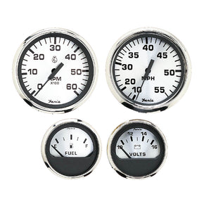 Faria Spun Silver Box Set of 4 Gauges f-Outboard Engines - Speedometer, Tach, Voltmeter  Fuel Level [KTF0182] - Faria Beede Instruments