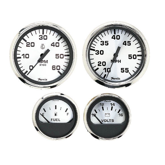 Faria Spun Silver Box Set of 4 Gauges f-Outboard Engines - Speedometer, Tach, Voltmeter  Fuel Level [KTF0182]