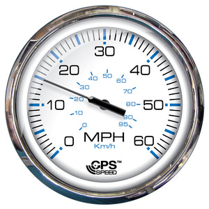 "Faria 5"" Speedometer (60 MPH) GPS (Studded) Chesapeake White w-Stainless Steel [33861]"