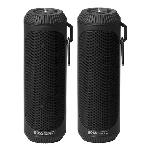 Boss Audio Bolt Marine Bluetooth Portable Speaker System w-Flashlight - Pair - Black [BOLTBLK] - Boss Audio