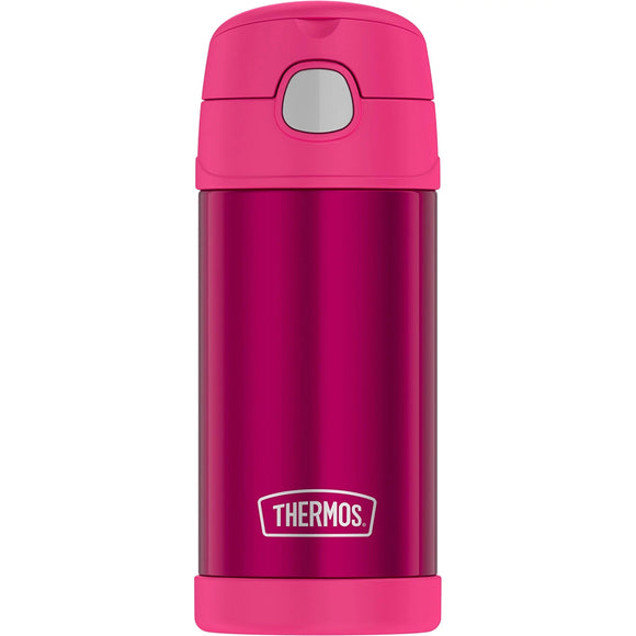 Thermos FUNtainer Stainless Steel Insulated Pink Water Bottle w/Straw - 12oz [F4019PK6]