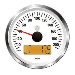 "Veratron 3-3/8"" (85mm) ViewLine Speedometer - 0 to 200 KMH - 12/24V - White Dial  Triangular Bezel [A2C59512382]"