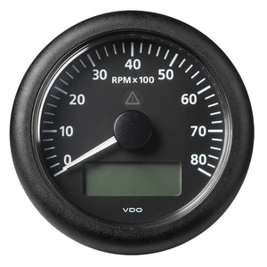 "Veratron 3-3/8"" (85MM) ViewLine Tachometer with Multi-Function Display - 0 to 8000 RPM - Black Dial  Bezel [A2C59512395]"